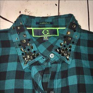 C. Wonder embellished plaid shirt